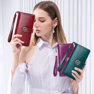 genuine leather RFID anti-magnetic wallet female Korean style of the ladies purse large capacity clutch bag for cash Coin mobile cell purse