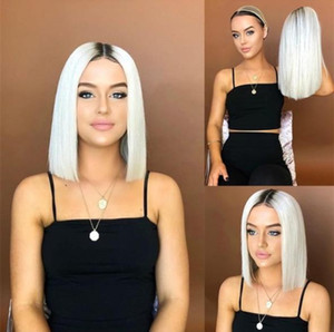 bob Ombre white straight Lace Front Wigs With Baby Hair 180% Density Heat Resistant Synthetic Wigs 14inch Short Wigs For Black Women FZP152