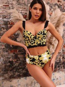 2020 women's Bikini Sets Knitted high waist split undergarment covering chest abdomen Lace shoulder strap Wrap up yakuda wholesale leopard