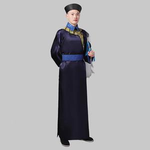 Оптово-долго халата китайской династии Цин Мужская одежда Этап одежда телевизионный фильм косплей Outfit