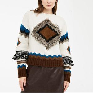 2019 Invierno nueva de la manera geométrica de Bohemia Modelo retro flojo del suéter de la borla de las mujeres de tejer Pullover Swaeter Y591