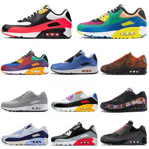 Nike Air Max 90 Shoes airmax Chaussures de course pas cher Pour Hommes Femmes Rose Bleu Gris Gris Noir Croc Infrared Mens Fashion Trainer Sport En Plein Air Sneaker 36-45