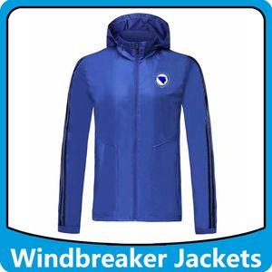 giacche Bosnia-Erzegovina calcio giacca a vento con cappuccio cappuccio, Bosnia con cappuccio cerniera Windbreaker cappotto invernale Calcio Running Giacche