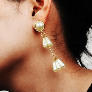 New small fresh water drop pearl earrings earrings fashion simple sweet pearl long earrings female Women jewelry