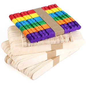 50Pcs Lot Eco-friendly Wooden Craft Ice Cream Sticks Pop Popsicle Sticks Natural Wood Tools DIY Kids Handwork Art Toys Ice Mold