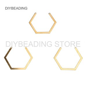 10-500 Pcs Brass Component for Making Earrings Necklace Jewelry Open Hexagon Charm Chunky Connector Finding Bulk Wholesale