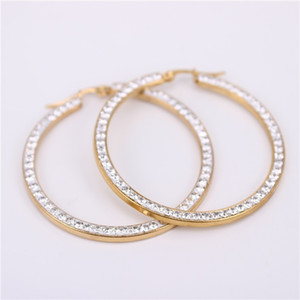 New design Gold Color Large Classic crystal circle hoop earrings Stainless Steel for women gift Fashion Jewelry