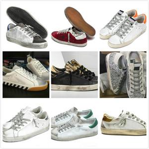 أحذية رياضية سوبر ستار إفعل القديمة أحذية القذرة الرياضة الذهبي إيطاليا أزياء الرجال النساء أحذية عارضة الأبيض جلدية الجلد المدبوغ شقة أحذية حجم كبير 35-46