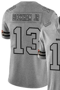 2020 Man Cleveland 13 Chemise en jersey brodé et 100% chanvre piquées Ash Throwback Limited Jersey Jersey Football américain