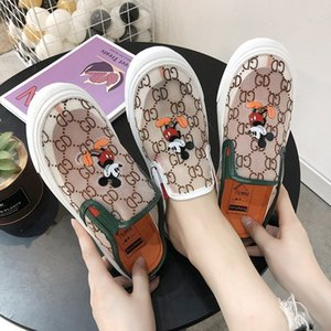 2020 luxury fashion designer sneakers leather platform vintage high quality women mens homes shoes Rice Mouse cartoon print Ace Bee Stripes
