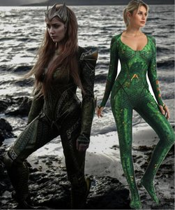 Justice League Costume Mera Cosplay 3D Film Original Costume Super-Héros Costume Complet Costume Zentai