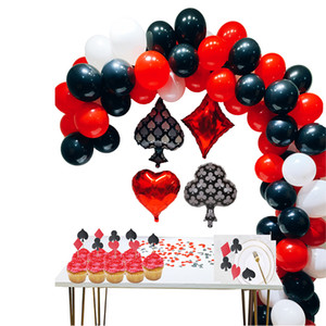87pcs Casino Parti Dekorasyon Seti Casino Balonlar Lateks Poker Las Vegas Temalı Partiler doğum günü partisi süslemeleri yetişkin CJ191225 Malzemeleri