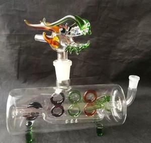 Una tubería horizontal de color Bongs accesorios de vidrio, grifo de pipa de agua de tuberías de colores pipas de vidrio curvo quemador de aceite Tubos Tubos de agua Dab Ri