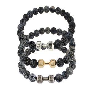 8MM Weathering Agate Stone Dumbbell Bracelet Essential Oil Diffuser Hight Elastic Bracelet Yoga Reiki Prayer Stone Bracelet B355S