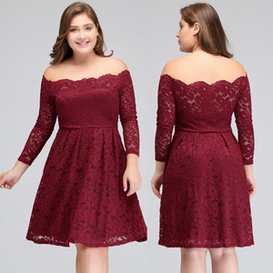 New Design Lace Burgundy Party Homecoming Dresses Vintage Off Shoulders Long Sleeves Knee Length Cocktail Homecoming Dresses CPS694
