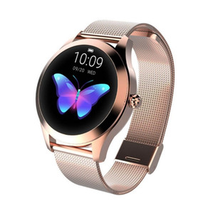 New IP68 Waterproof Smart Watch Women Lovely Bracelet Heart Rate Monitor Sleep Monitoring Smartwatch Connect IOS Android KW10 band (Retail)