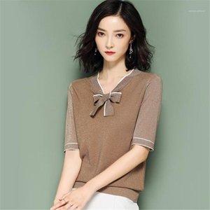 Soie à manches courtes Slim OL Femmes Knits Contraste couleur bowknot Femmes Hauts délassantes dames T-shirts col V clair