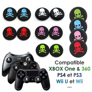 5 Colors Skeleton skull head Silicone Analog Controller Thumbstick Thumb Grip Joystick Cap Cover Grips for PS4 PS3 Xbox one 360