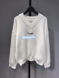 Женщины роскошный дизайн негабаритных трикотаж письма печати пуловер свитер высокого класса девушки взлетно-посадочной полосы стрейч вискоза трикотажные V-образным вырезом топы свитера