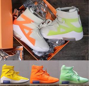 2019 Nike Air Fear Of God 1 erkek basketbol ayakkabı florida am buzlu ladin turuncu darbe sarı yeşil siyah çizmeler spor zoom tasarımcı ayakkabı