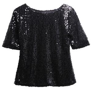 Mujeres de moda de verano suelta Top Media manga Sparkle Glitter Blusa Damas ocasionales sueltos lentejuelas Pullover Tops Blusa Negro astilla