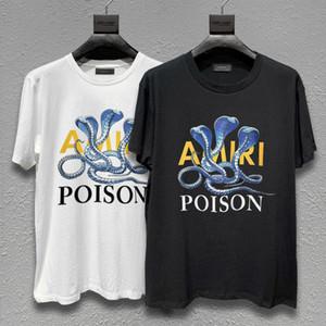 designer de marca da maré alta rua t-shirt Amiri Europeu e T-shirt americano de manga curta Amiri P0ISON três cobra impressão ocasional pedinte
