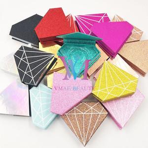 Wholesale logo Faux Cils Strip Diamond Magnetic Case Pestañas personalizadas cajas de embalaje Paquete Paquete Personalizar Almacenamiento Levantamientos Caja DHL Gratis