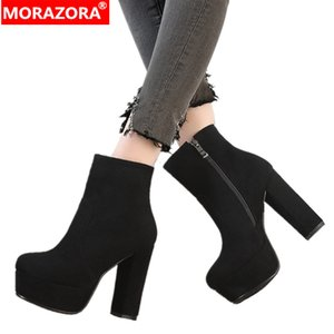 MORAZORA 2020 nuevas botas de gamuza sintética de alta calidad botines de plataforma de tacones altos para mujer cremallera zapatos de otoño invierno mujer