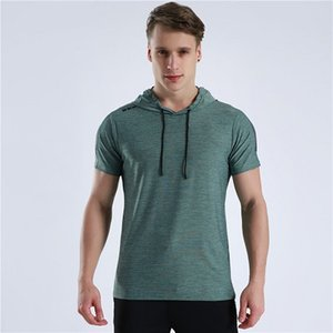 New Design Hooded Shirts Men Gyms T Shirt Fitness Bodybuilding Cross Fit Slim Men Short Sleeve Workout Male Casual Tees Tops