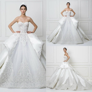 2020 Lace Ballsaal Brautkleider Schatz Appliqued Sleeveless Brautkleid Backless Tiers Rüschen Sweep Zug Roben De Mariée