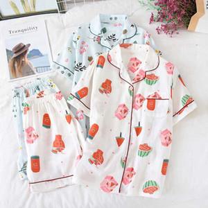 Japon ilkbahar yaz pijama kadın pamuk gazlı bez ince gevşek ev hizmeti kısa kollu şort takım elbise öğrencilerin pijamas pijama