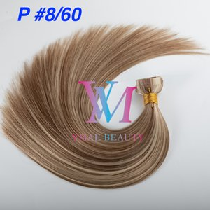 Piano Color Tape in Double Drawn Silk Straight Soft Natural Blonde Brown Mix Color Virgin Remy Human Hair Extension
