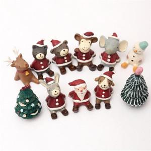 11 modèles petit animal apparence version ornements de Noël les étoiles résine de décoration de bureau de bureau de poupée