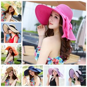Pieghevole Lady cappelli di paglia spiaggia del cappello di Sun della signora larghi del bordo di paglia cappelli esterni ripiegabili Beach Panama cappelli Chiesa Hat LJJA3669-6