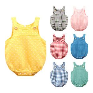 طفل ملابس الصيف Cottonlinen طفلة كشكش رومبير الحمالة وزرة الرضع بوي بذلة ملابس الطفل J190525