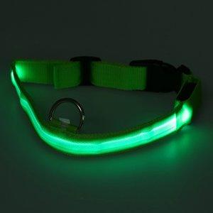 Neue Nylon-LED Dog Night-Sicherheits-Kragen-Blitze leuchten W / Kreis Anhänger Collar (grün) Hundehalsbänder