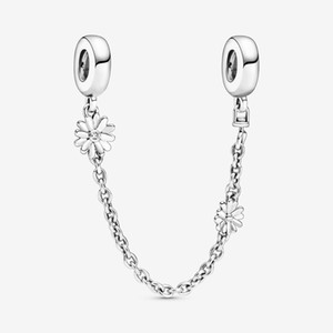 New Arrival 925 Sterling Silver Daisy Flower Safety Chain Charm Fit Original European Charm Bracelet Fashion Jewelry Accessories