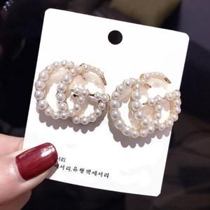 Горячая уха Продажи ювелирных изделий Stud White Pearl Letter Подвески мотаться серьги шпильки серьги для женщин Lady колец