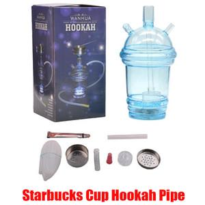 Starbucks Coupe Hookah Tuyau tuyau rougeoyant LED Glass Bong Eau narguilé à thé de thé Tasse à thé Tuyau d'eau Acrylique Dabber avec 80cm Tuyau en stock