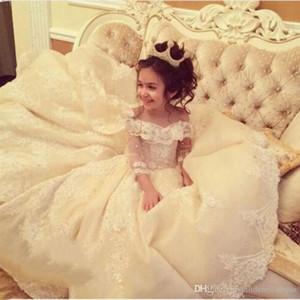 Principessa al largo della spalla Occasione palla abito Flower Girl Dresses speciali per matrimoni bambini Pageant abiti di Applique Comunione Dress