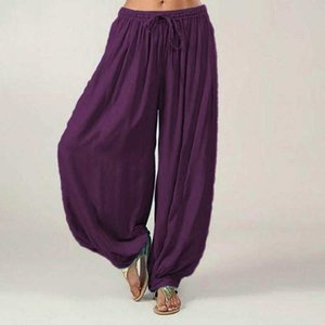 Summer NEW Fashion Womens Elastic Loose Casual Modal Cotton Soft Dance Harem Mid Waist Pants Wholesale W3
