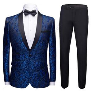 Moda Uomo scialle risvolto 2 Suits pezzi Set Rosso Blu Bianco Nero da sposa sposo qualità jacquard Banquet Tuxedo