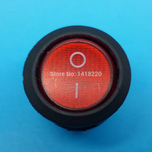 100Pcs Red Light Round 3Pin Rocker Switch 6A 250V 10A 125V ON OFF KCD1-2
