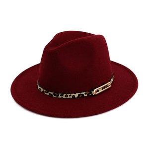 Lady Panama Fedoras Lana Feltro tesa larga Jazz Fedora cappelli per le donne Trilby Derby Cappello Giocatore con Leopard Print Leather Buckle