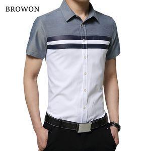 BROWON New Arrival Mens Shirt Fashion Short Sleeve Men Shirt Regular Fit Striped design Social Shirt Camisa Social Masculina T200528