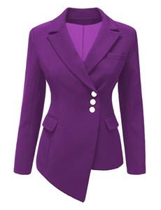 Pydownlake 2019 Primavera Autunno Blazer Donna Slim a maniche lunghe Blazer da donna Feminino OL formale da lavoro giacca piccola Giacca pulsante cappotto irregolare