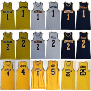 2019 Michigan Wolverines 1 Charles Matthews 2 Jodan Poole 5 Jalen Rose 4 Chris Webber 25 Juwan Howard 41 Glen Rice College Basketball Jersey