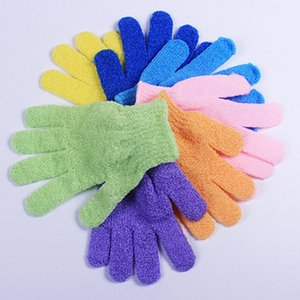 Vente en gros Exfoliant Gants de lavage de la peau du corps mitaines de bain Gommage Massage Spa bain Finger Gloves 5 couleurs offrent choisir