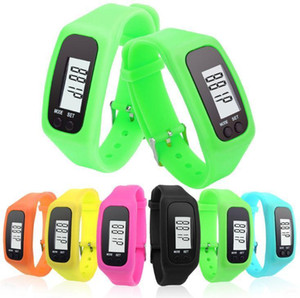 Digital LCD Pedometer Smart Multi Watch silicone Run Step Walking Distance Calorie Counter Watch Electronic Bracelet Color Pedometers SN1727