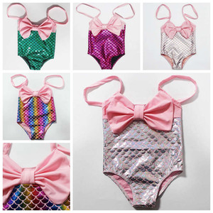 1-6 years Cute Princess Kids Baby Girl Mermaid Swimwear Halter Bowknot Bikini Swimsuit Swimming Swimmable Bathing Suit Beachwear